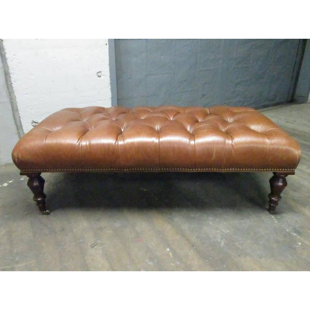 George Smith George Smith English Tufted Leather Bench For Sale - Image 4 of 4