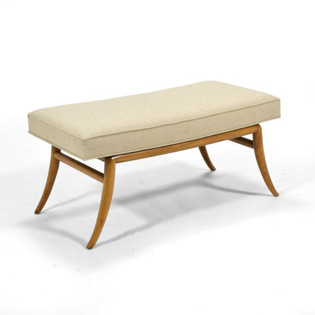 Widdicomb t.h. Robsjohn-Gibbings Saber Leg Bench by Widdicomb For Sale - Image 4 of 9