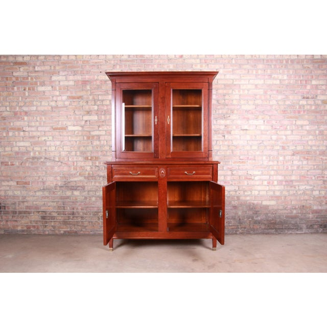 Brown French Provincial Solid Cherry Breakfront Bookcase or Bar Cabinet by Grange For Sale - Image 8 of 13
