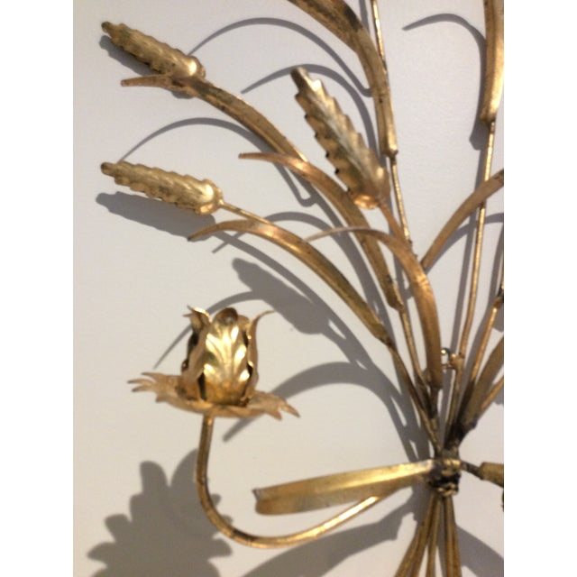 1970s 1970s Italian Wheat Tole Gold Gilt Candle Sconce For Sale - Image 5 of 8