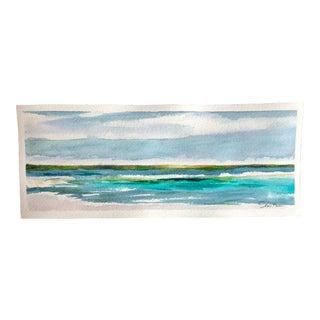 "Nancy Smith Contemporary Watercolor Seascape ""Just Breathe"" For Sale"