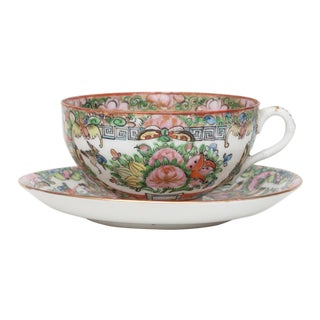 Antique Famille Rose Cup & Saucer For Sale
