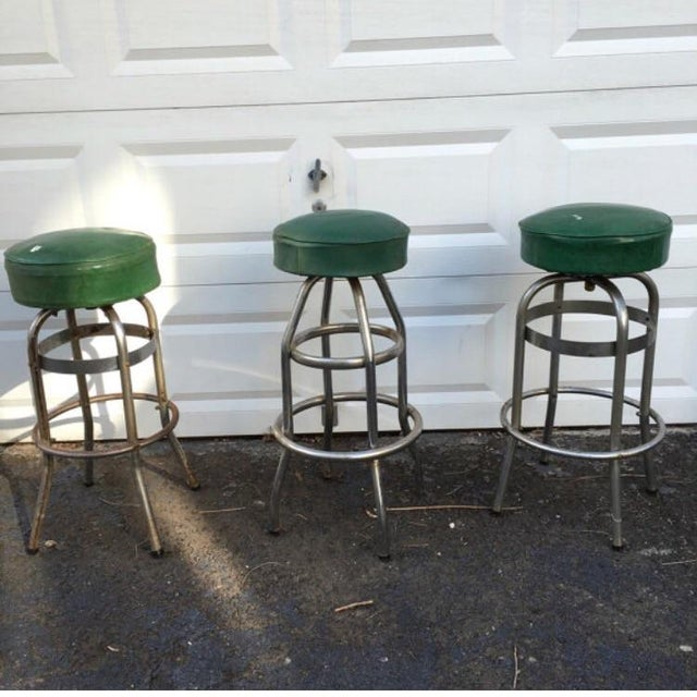Vintage Retro Green Diner Stool - Image 2 of 4