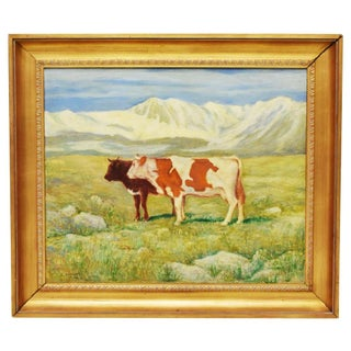 Two Cows in Mountain Landscape Painting, Signed L. Arnulfo For Sale