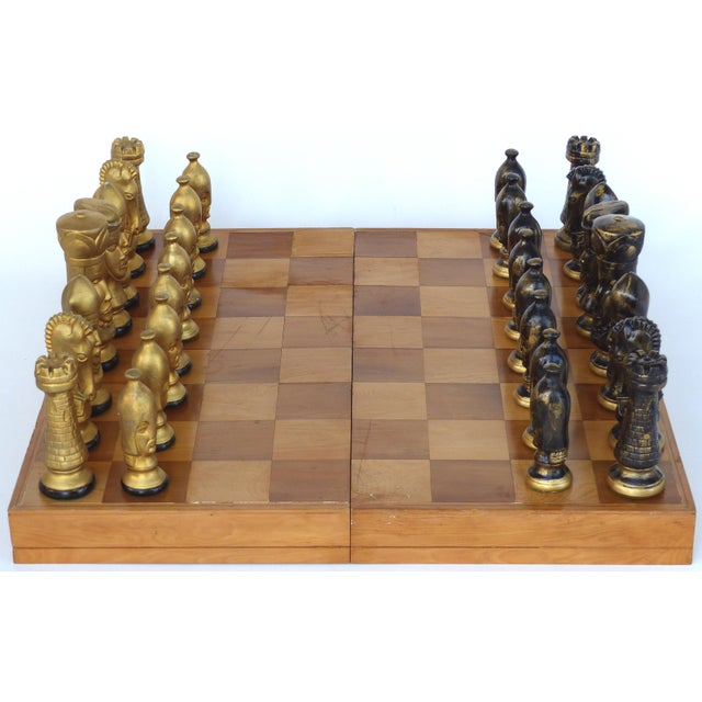 Monumental Wood Case Chess Set W/ Plaster Chess Pieces For Sale - Image 11 of 11