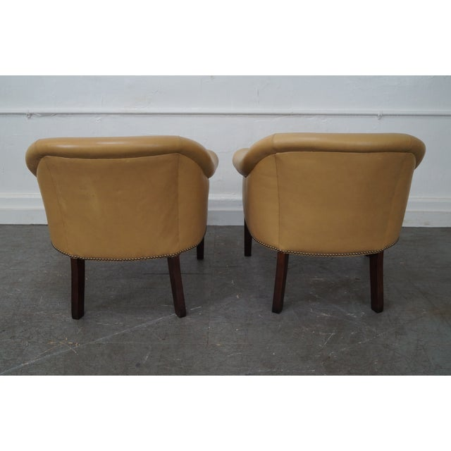 Quality Leather Barrel Back Arm Chairs - Pair - Image 2 of 10