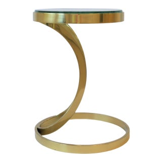 Round Brass and Glass Side or Drinks Table For Sale