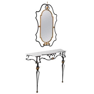 Palladio Italian Marble-Top Console Table and Mirror For Sale