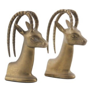 Vintage Brass Gazelle Ibex Head Bookends - a Pair For Sale