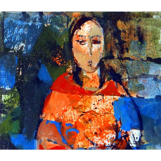 """1950s Vintage Ruth Schloss """"Sephardic Woman"""" Oil on Canvas Painting For Sale - Image 4 of 10"""
