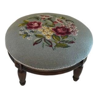 Vintage Needlepoint Round Footstool For Sale