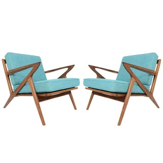 """Model Z"" Walnut Lounge Chairs - A Pair For Sale"