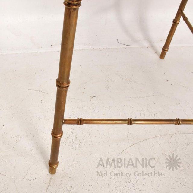 1950s Mexican Modernist Centre Table in Brass, Wood & Malachite, Pepe Mendoza Square For Sale - Image 5 of 11