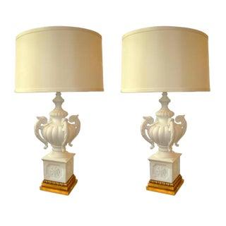 Pair of Vintage Hollywood Regency Italian Plaster Urn Form Lamps For Sale