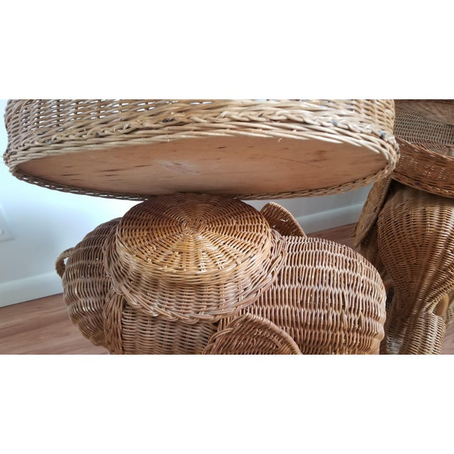 1960s 1960s Boho Chic Woven Elephant Tray Tables - a Pair For Sale - Image 5 of 10