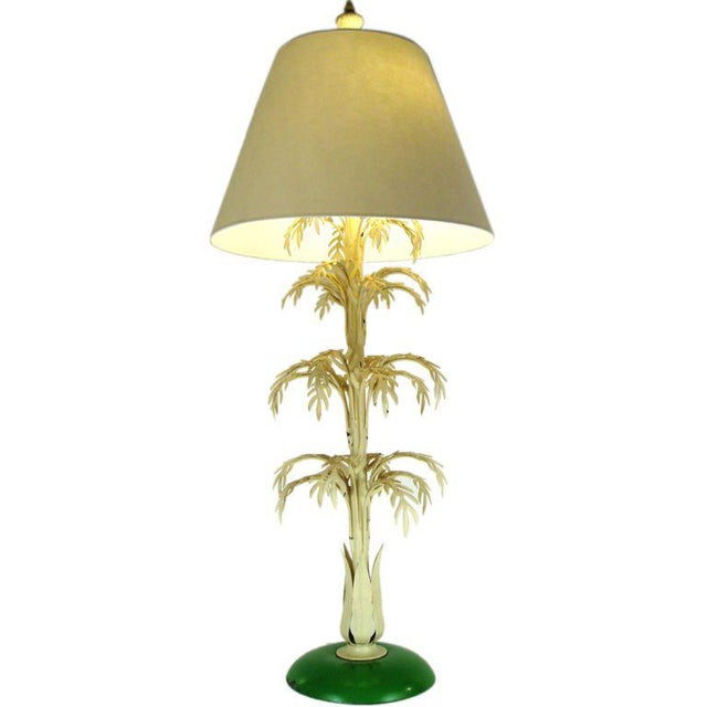 Metal Mid-Century Palm Leaf Table Lamp For Sale - Image 7 of 7