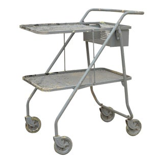 Vintage Folding Industrial Painted Metal Rolling Shop Grocery Trolley Work Cart