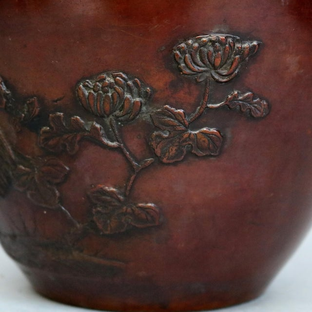 Antique Japanese Embossed Bronze Jardinière with Garden Scene, circa 1920 For Sale - Image 4 of 11