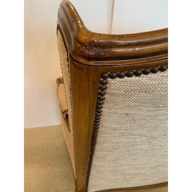 Handsome Louis XV Style Bergere With Neutral Taupe Rose Tarlow Upholstery For Sale - Image 11 of 12