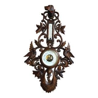 Antique French Carved Black Forest Dog Hound Hunt Barometer Bird Coat Hat Rack For Sale