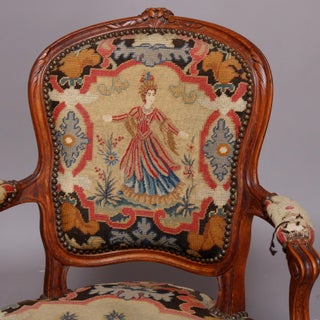 Late 18th Century Vintage French Louis XV Carved Fruitwood & Pictorial Needlepoint Fauteuils Preview