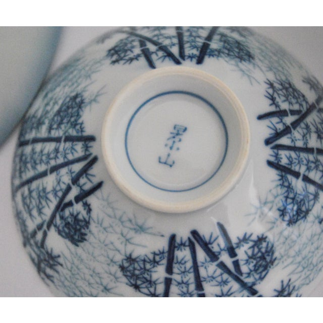 Mikawachi Blue White Ramen and Tea Bowls - Set of 4 For Sale - Image 4 of 7