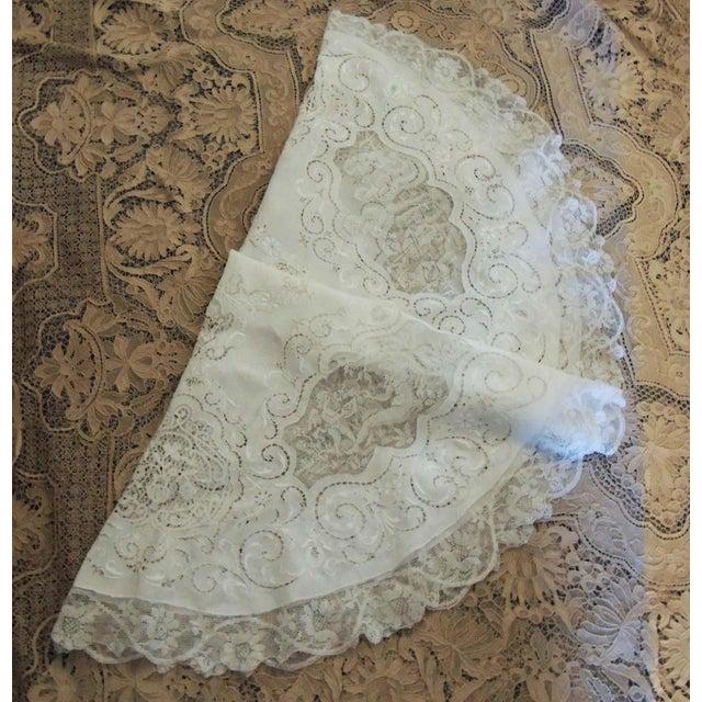 Antique Round Figural Needle Lace Point De Venise Tablecloth With Cherubs For Sale - Image 11 of 11