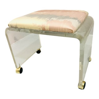 1970s Vintage Hill Manufacture Lucite Vanity Bench For Sale