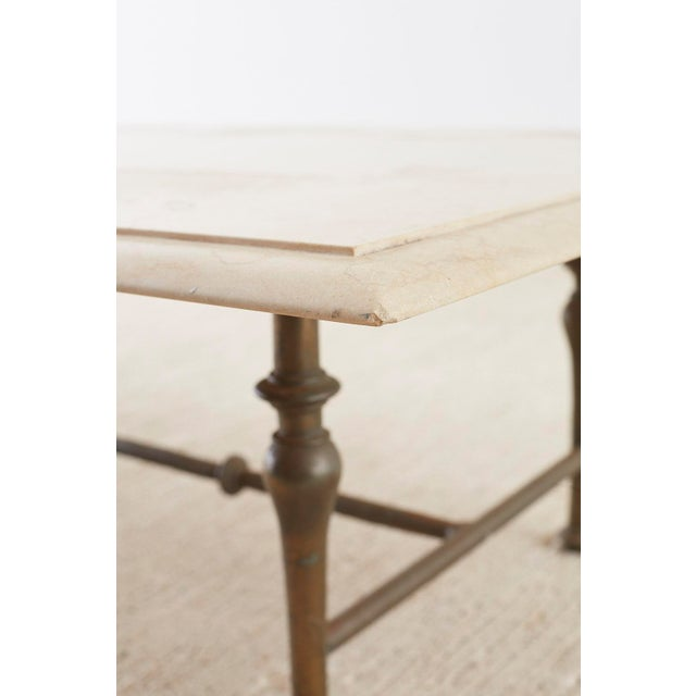 Metal Italian Hollywood Regency Marble-Top Brass Cocktail Table For Sale - Image 7 of 13