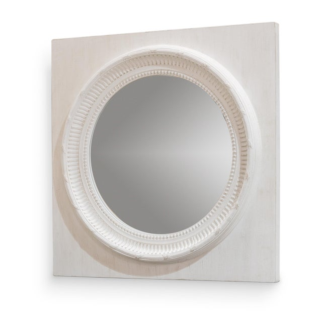 Contemporary Circle Squared Mirror, Off White For Sale - Image 3 of 3