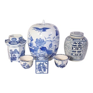 Antique Chinoiserie Blue & White Hand-Painted Porcelain Vessel & Jar Collection - Set of 9 For Sale