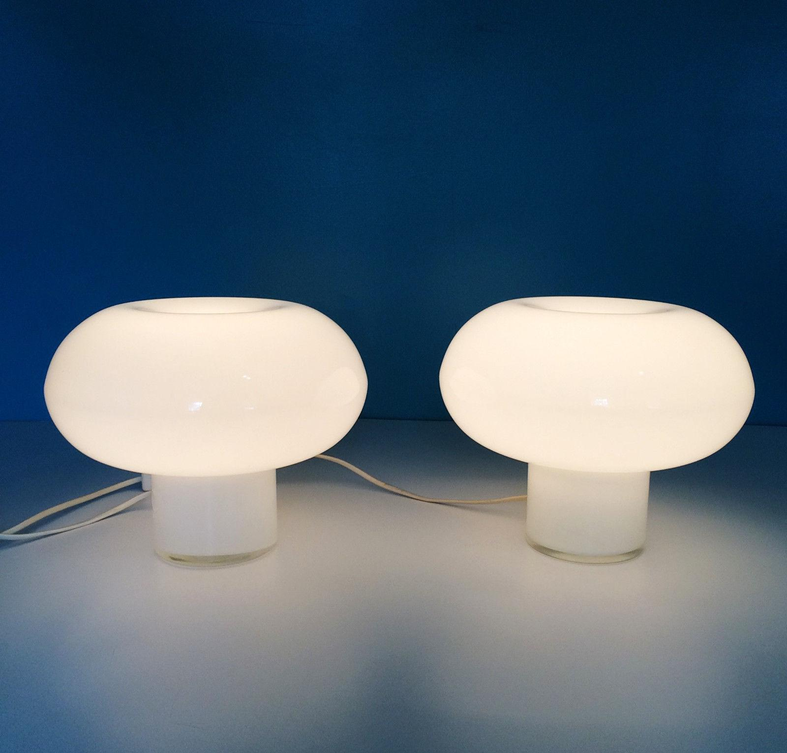 Danish Modern Glass Mushroom Cloud Lamps   A Pair   Image 2 Of 6