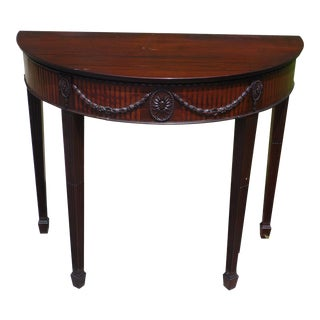 Antique Federal Style Mahogany Demilune Sofa Console Table Entry Foyer Stand For Sale