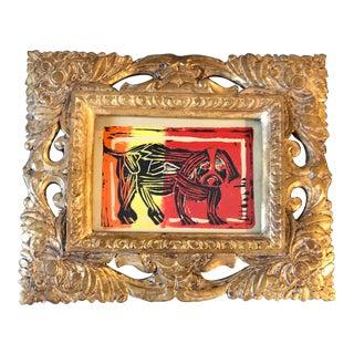 Vintage Original Dog Woodblock Print Ornate Gold Frame For Sale