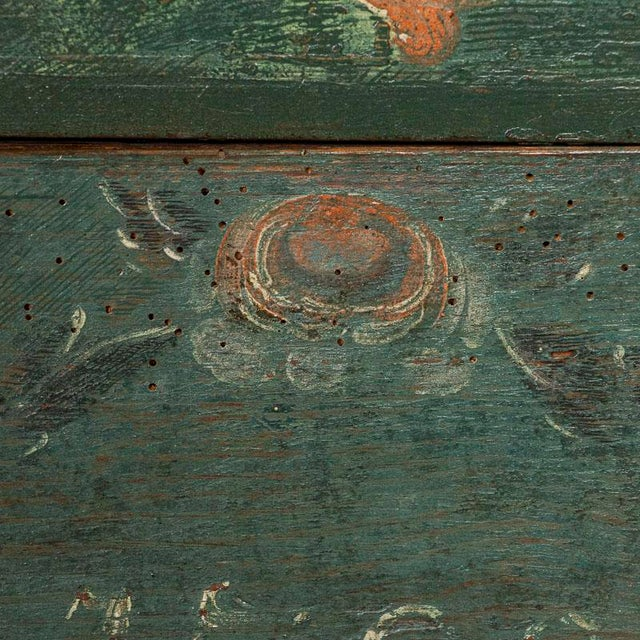 Paint Antique Original Blue Painted Small Trunk Dated 1788 From Sweden For Sale - Image 7 of 13