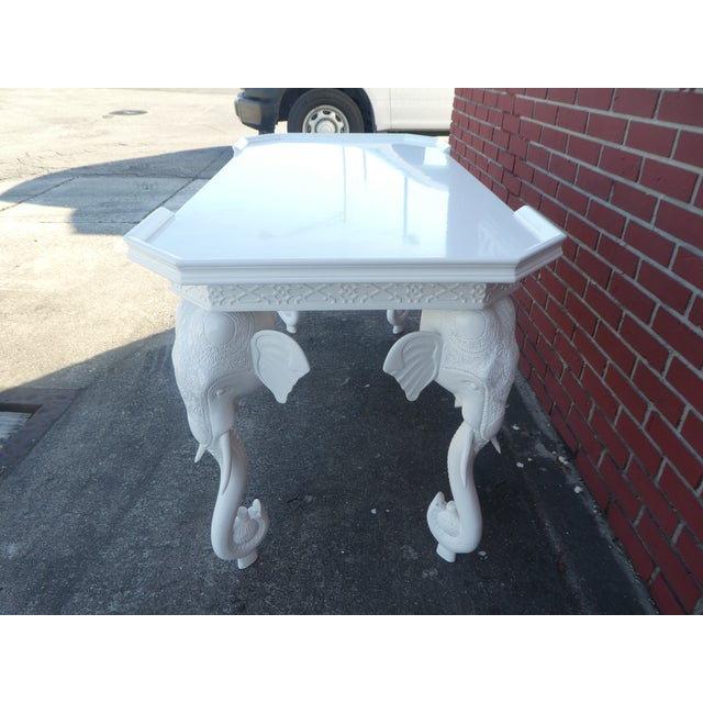 Gampel-Stoll 1970s Hollywood Regency Gampel Stoll White Lacquer Elephant Writing Desk For Sale - Image 4 of 13