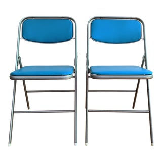 Mid-Century Samsonite Folding Metal Chairs - A Pair For Sale