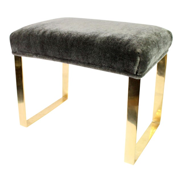 Hollywood Regency Brass & Vintage Sage Green Alpaca Mohair Bench - Small For Sale