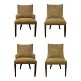 Image of Hickory White Bronze Fabric Upholstered Dining Chairs Set of Four 421-65/421-66 For Sale
