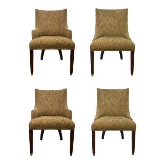 Hickory White Bronze Fabric Upholstered Dining Chairs Set of Four 421-65/421-66 For Sale