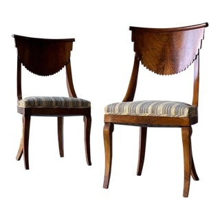Biedermeier Style Walnut Chairs - a Pair For Sale