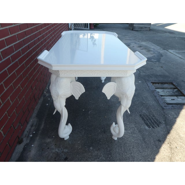 1970s Hollywood Regency Gampel Stoll White Lacquer Elephant Writing Desk For Sale - Image 12 of 13