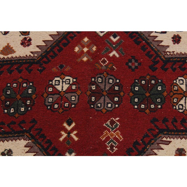 """Antique Tribal Soumakh Sal Wool Rug - 6'2"""" X 8' For Sale - Image 4 of 9"""