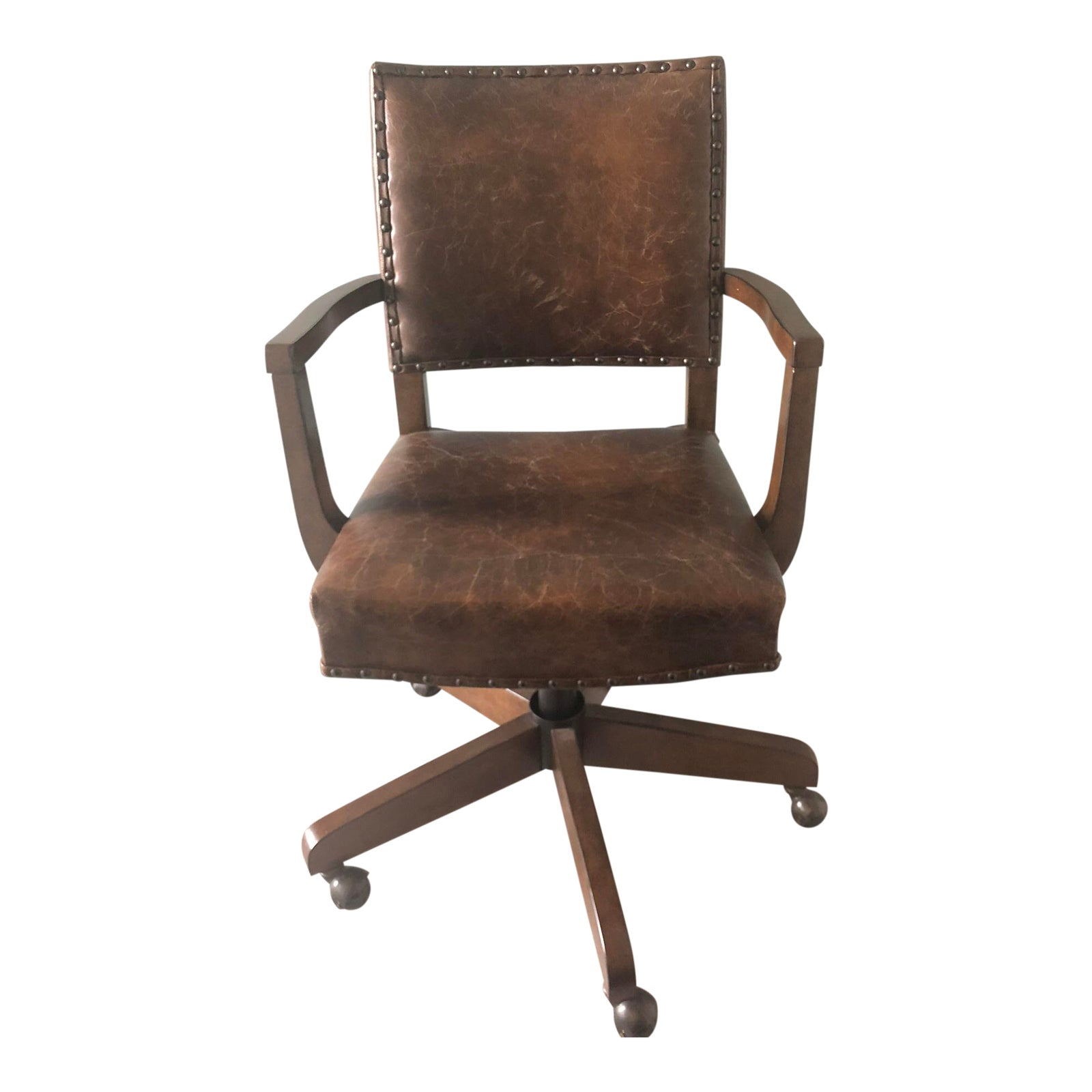 Pottery Barn Manchester Swivel Desk Chair Chairish