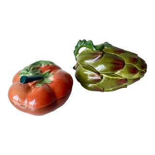 Vintage Italian Ceramic Artichoke & Tomato Boxes For Sale