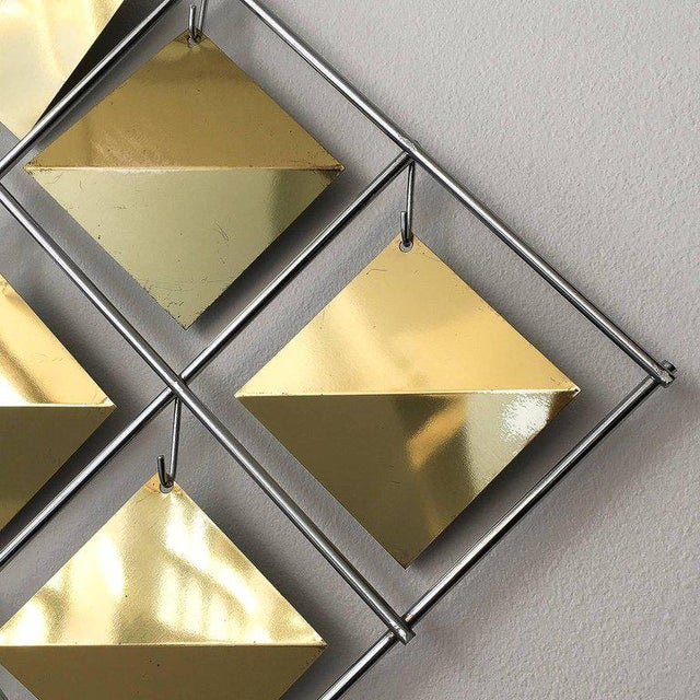 Luxury Curtis Jere Brass Diamond Kinetic Wall Sculpture | DECASO