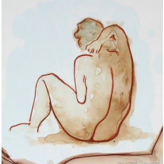 "R. Delamater ""The Bather II"" Mixed Media Painting"