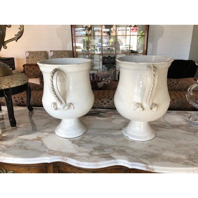 Italian Fortunata Italian Ceramic White Urns - a Pair For Sale - Image 3 of 13
