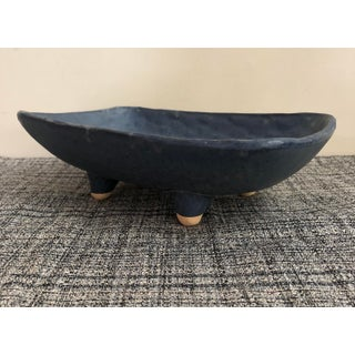 1960s Japanese Blue Drip Glazed Rectangle Footed Ceramic Serving Tray Preview