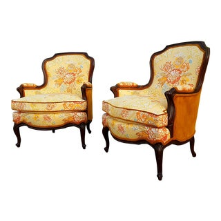 1960s Drexel French Marmalade Louis XV Style Bergère Chairs - a Pair For Sale